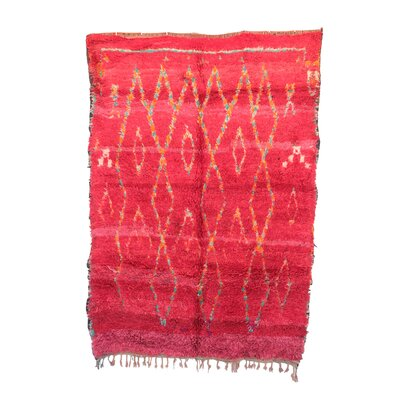 One-of-a-Kind Azilal Moroccan Hand-Knotted Wool Pink Area Rug