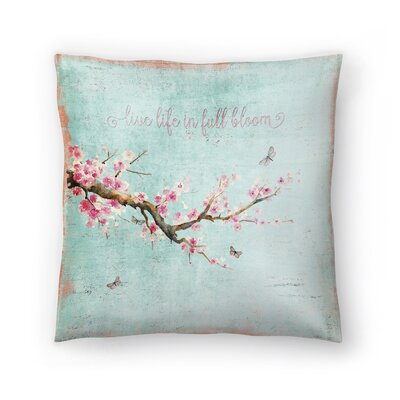 Spring Sakura Cherry Blossom Throw Pillow Size: 16 x 16