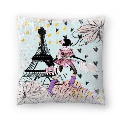 Fashion Girl in Paris Throw Pillow Size: 14 x 14