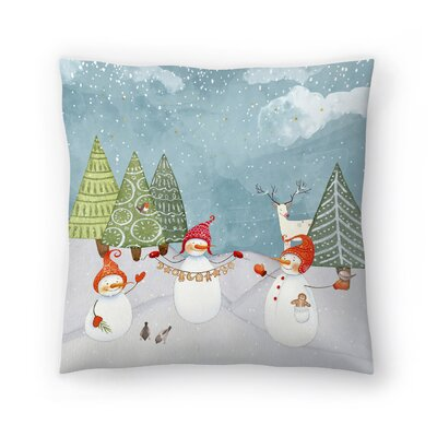 Playing Snowmen in Winter Forest Throw Pillow Size: 18 x 18