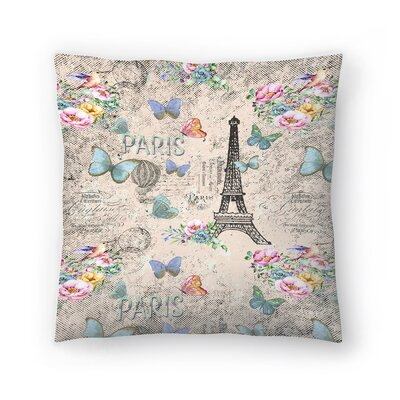 Vintage Typography Paris and Eiffel Tower Throw Pillow Size: 16 x 16