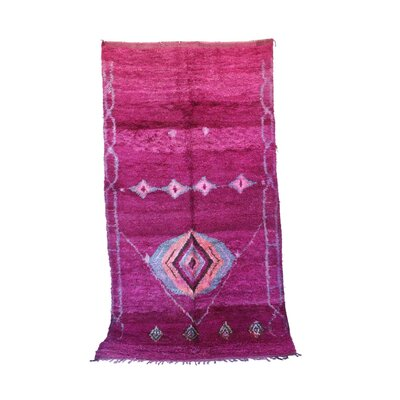 One-of-a-Kind Talsint Moroccan Hand-Knotted Wool Pink/Purple Area Rug