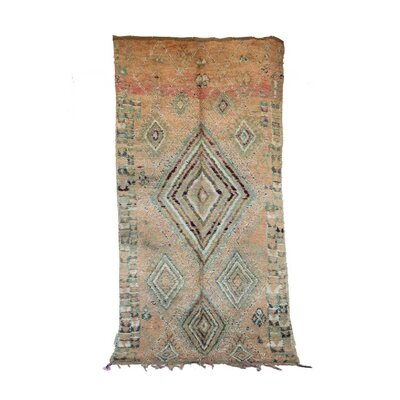 One-of-a-Kind Talsint Moroccan Hand-Knotted Wool Beige/Aqua Area Rug