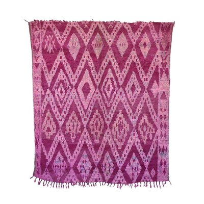 One-of-a-Kind Talsint Moroccan Hand-Knotted Wool Pink Area Rug