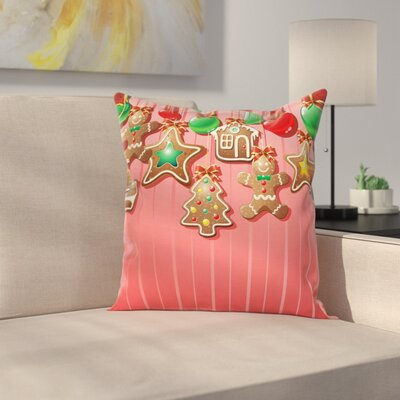 Gingerbread Man Symbolic Pastry Square Pillow Cover Size: 16 x 16