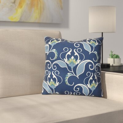 Harmen Floral Print Outdoor Throw Pillow Size: 20 H x 20 W x 3 D, Color: Blue