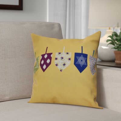 Hanukkah 2016 Decorative Holiday Geometric Outdoor Throw Pillow Size: 20 H x 20 W x 2 D, Color: Yellow