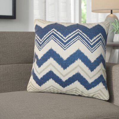 Aubrielle Zigzag Cotton Throw Pillow Color: Blue