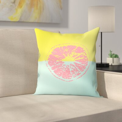 Pink Grapefruit Throw Pillow Size: 16 x 16