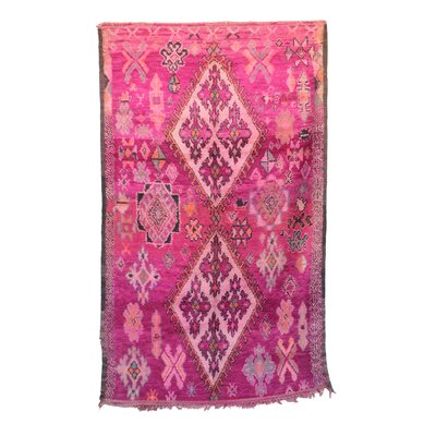 One-of-a-Kind Boujad Moroccan Hand-Knotted Wool Pink Area Rug