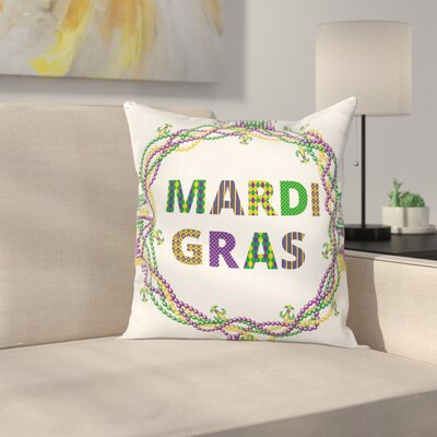 Mardi Gras Vivid Beads Patterns Square Cushion Pillow Cover Size: 20 x 20
