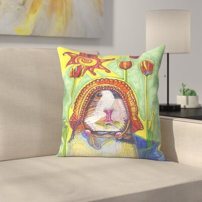 Guinea In Bonnet Pauline Throw Pillow Size: 16 x 16