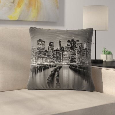 Manhattan Skyline Evening Atmosphere Throw Pillow Size: 16 x 16