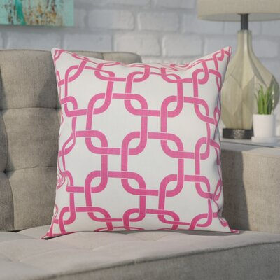 Sessums 100% Cotton Throw Pillow Color: White Candy Pink, Size: 18 H x 18 W