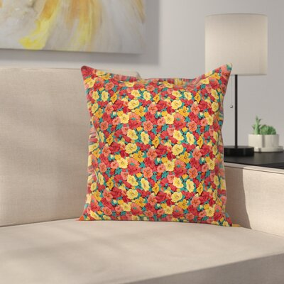 Anemone Retro Romantic Square Cushion Pillow Cover Size: 16