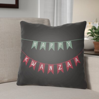 Indoor/Outdoor Throw Pillow Size: 18 H x 18 W x 4 D, Color: Black/Green/Red