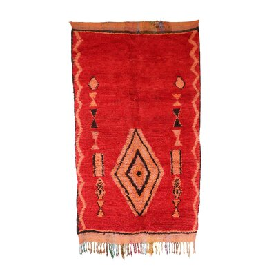 One-of-a-Kind Boujad Hand-Knotted Wool Red Area Rug