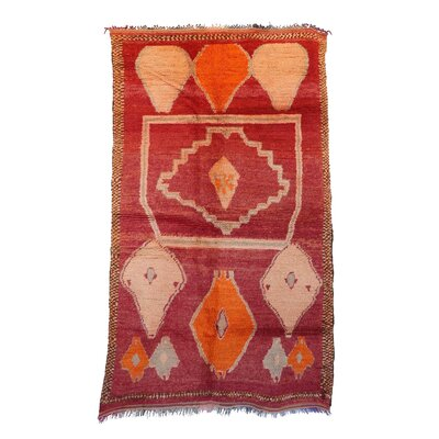One-of-a-Kind Boujad Moroccan Hand-Knotted Wool Red/Orange Area Rug