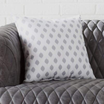 Alarice Cop-Ikat Geometric Print Throw Pillow Size: 18 H x 18 W x 1 D, Color: Classic Gray