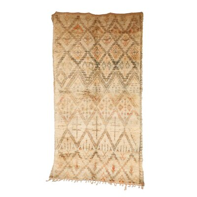 One-of-a-Kind Beni Ourain Moroccan Hand-Knotted Wool Cream Area Rug