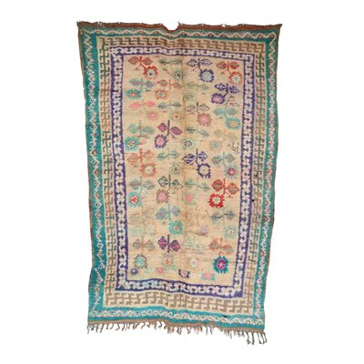 One-of-a-Kind Boujad Moroccan Hand-Knotted Wool Aqua/Beige Area Rug
