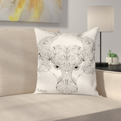 Astrology Taurus Sign Square Pillow Cover Size: 18 x 18