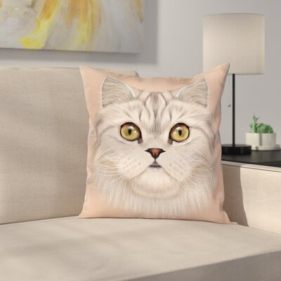 Love Cat Portrait Cushion Pillow Cover Size: 16 x 16