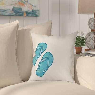 Anthurium Flip Flops Geometric Print Outdoor Throw Pillow Size: 20 H x 20 W, Color: White
