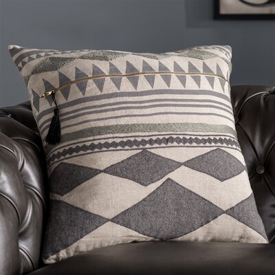 Anastagio Tribal Pattern Linen Throw Pillow Color: Grey / Ivory