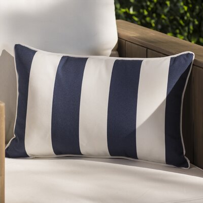 Ame Rectangular Zippered Striped Outdoor Lumbar Pillow Color: White/Blue