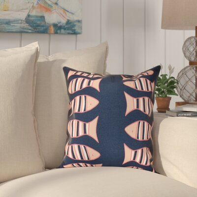 Grand Ridge Somethings Fishy Coastal Throw Pillow Size: 26 H x 26 W, Color: Navy Blue