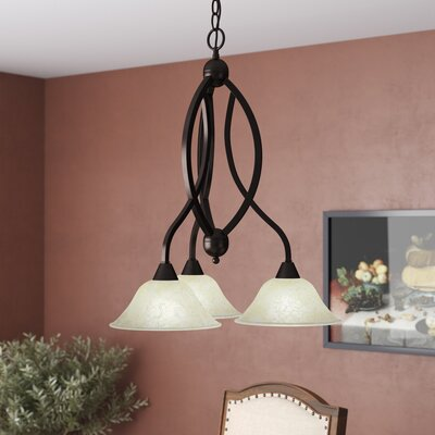 Blankenship 3-Light Shaded Chandelier Shade Color: Amber