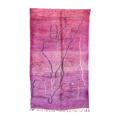 One-of-a-Kind Beni MGuild Moroccan Hand-Knotted Wool Pink/Purple Area Rug