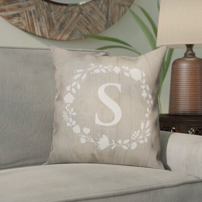 Orme Wreath Monogram Throw Pillow Letter: S