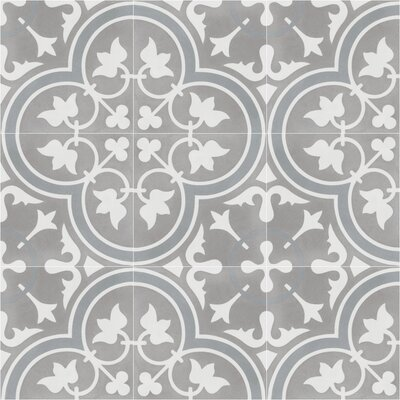 Tulips B Holland 8 x 8 Cement Field Tile in Warm Gray/White