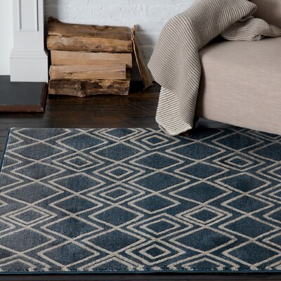 Malmberg Lynx Blue Area Rug Rug Size: Rectangle 53 x 77