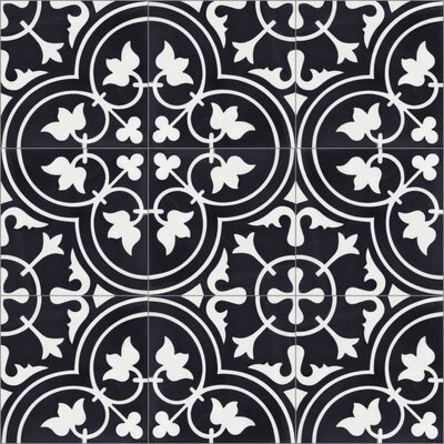Tulips B Evening 8 x 8 Cement Field Tile in Black/White