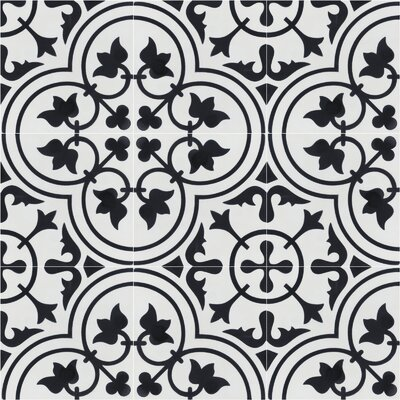 Tulips B Morning 8 x 8 Cement Field Tile in Black/White