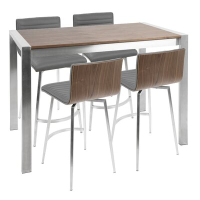 Nikolas 5 Piece Counter Height Dining Set Chair Color: Gray