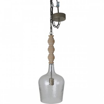 Whitley Wood and Glass 1-Light Mini Pendant