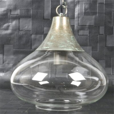 Whitlow Metal and Glass 1-Light Inverted Pendant