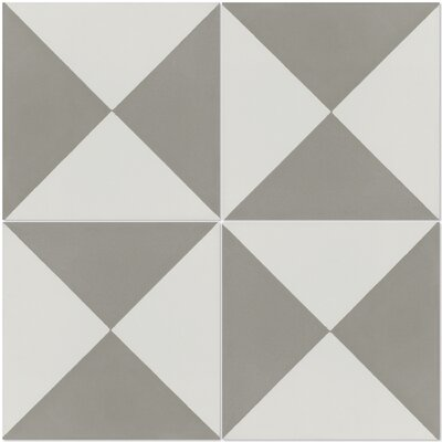 Tugboat Featherstone 8 x 8 Cement Field Tile in Gray/White