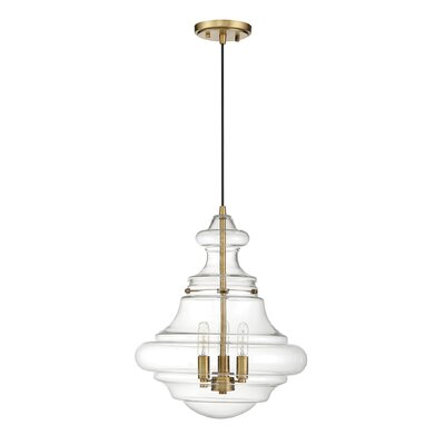 Edford 3-Light Schoolhouse Pendant Finish: Natural Brass