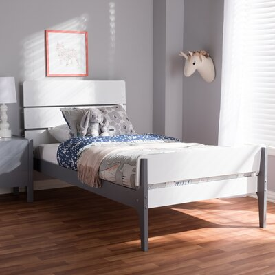 Chinery Twin Platform Bed Color: White/Dark Gray