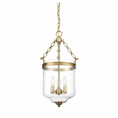 Hudock 3-Light Bowl Pendant Finish: Natural Brass