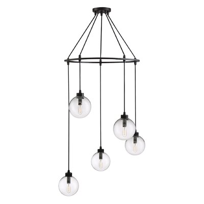Galaviz 5-Light Cluster Pendant Finish: Oil Rubbed Bronze, Shade Color: Clear