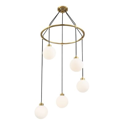 Galaviz 5-Light Cluster Pendant Finish: Natural Brass, Shade Color: White