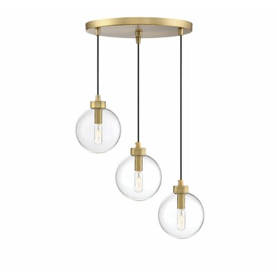 Galasso 3-Light Cluster Pendant Finish: Natural Brass, Shade Color: Clear