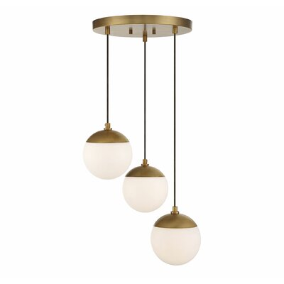 Galante 3-Light Cluster Pendant Finish: Natural Brass