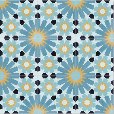 Tangier Primero 8 x 8 Cement Field Tile in Blue/Yellow